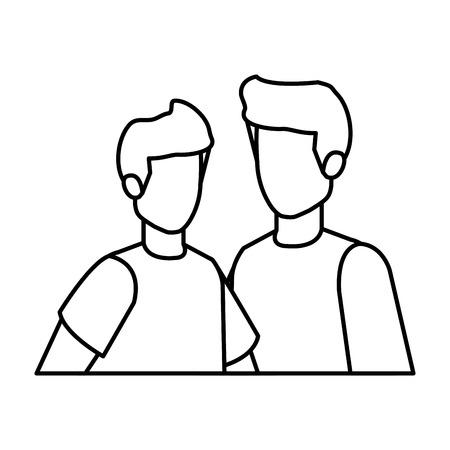 Illustration pour young and casual couple men characters vector illustration design - image libre de droit