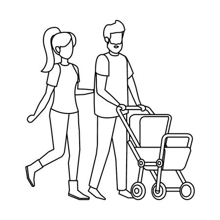 Ilustración de parents couple with cart baby characters vector illustration design - Imagen libre de derechos