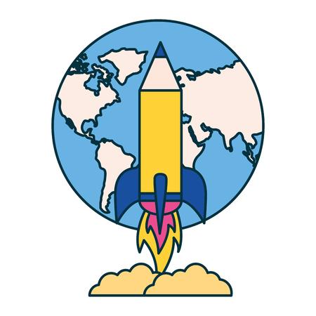Ilustración de rocket launching world education school vector illustration - Imagen libre de derechos