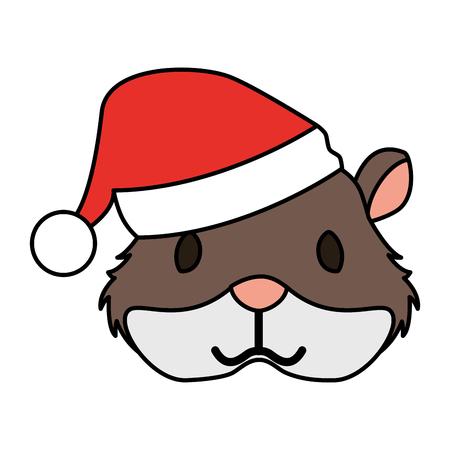 Illustrazione per cute hamster with warm hat christmas vector illustration - Immagini Royalty Free