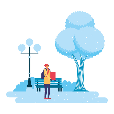 Illustration for man with gift park winter scenery vector illustration - Royalty Free Image
