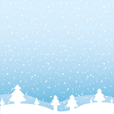 Illustration for winter landscape snow tree forest vector illustration - Royalty Free Image