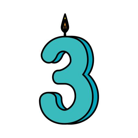 Illustration pour candle birthday number three vector illustration design - image libre de droit