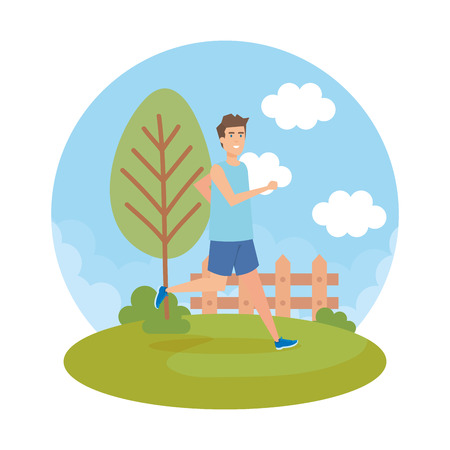 Ilustración de athletic man running in the park character vector illustration design - Imagen libre de derechos