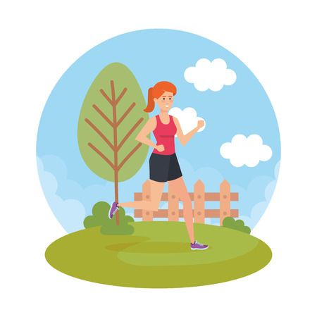 Ilustración de athletic woman running in the park vector illustration design - Imagen libre de derechos