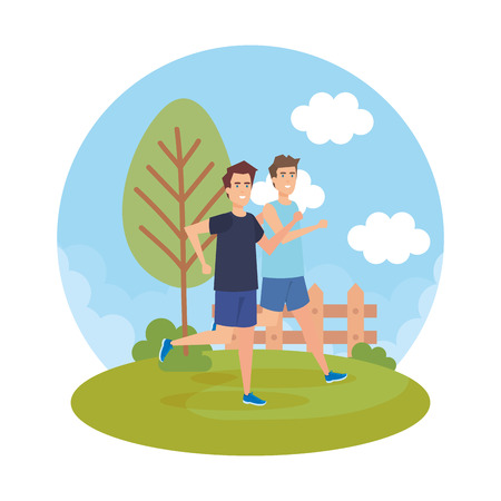 Ilustración de athletic men running in the park characters vector illustration design - Imagen libre de derechos