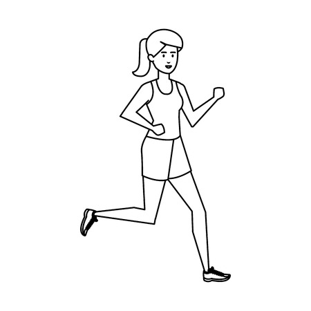 Ilustración de athletic woman running character vector illustration design - Imagen libre de derechos