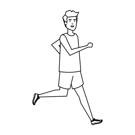 Ilustración de athletic man running character vector illustration design - Imagen libre de derechos