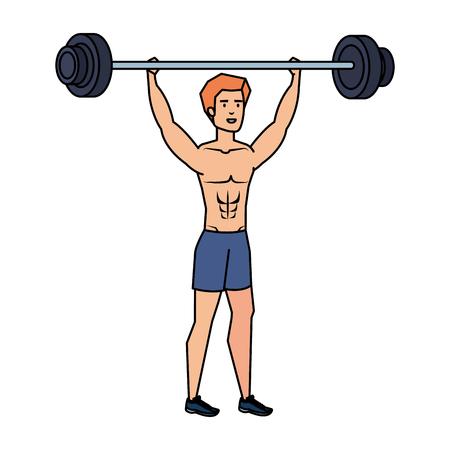 Illustration pour strong man lifting weight vector illustration design - image libre de droit