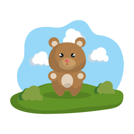 Illustration for cute bear in the camp vector illustration design - Royalty Free Image