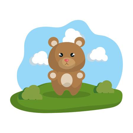 Illustration pour cute bear in the camp vector illustration design - image libre de droit