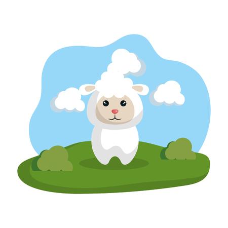 Illustration pour cute sheep in the camp vector illustration design - image libre de droit