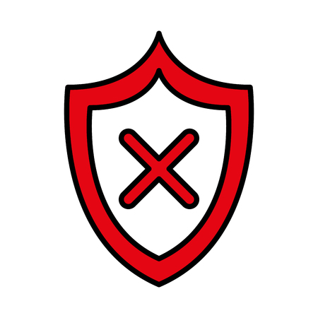 Illustrazione per shield security isolated icon vector illustration design - Immagini Royalty Free