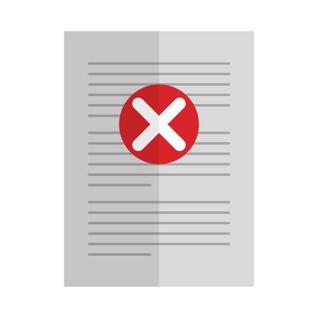 Illustration pour paper with denied mark icon vector illustration design - image libre de droit