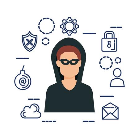 Illustrazione per hacker avatar with security set icons vector illustration design - Immagini Royalty Free