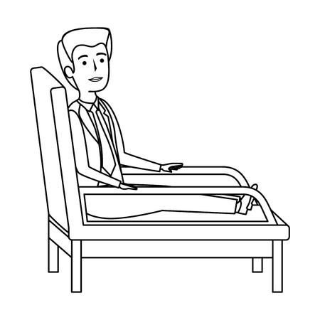 Illustration pour businessman sitting in psychiatrist chair vector illustration design - image libre de droit
