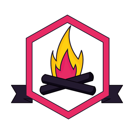 Ilustración de bonfire flame camping label ribbon vector illustration - Imagen libre de derechos