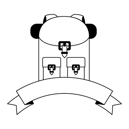 Illustration pour backpack equipment banner white background vector illustration - image libre de droit