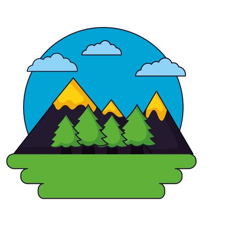 Illustration for mountains tree forest sky landscape vector illustration - Royalty Free Image