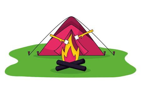 Ilustración de marshmallows roasted on wooden stick with campfire and tent vector illustration - Imagen libre de derechos