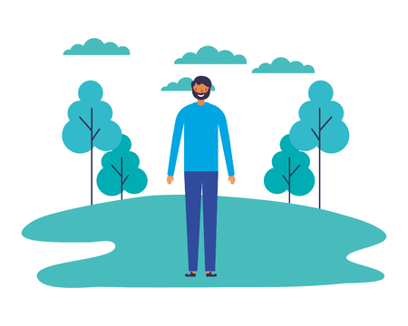 Illustration for man standing outdoors in the park vector illustration - Royalty Free Image