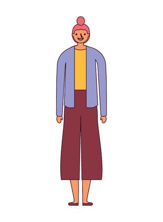Illustration pour woman cartoon character on white background vector illustration - image libre de droit