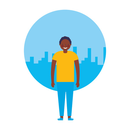 Ilustración de young boy standing with city background vector illustration - Imagen libre de derechos