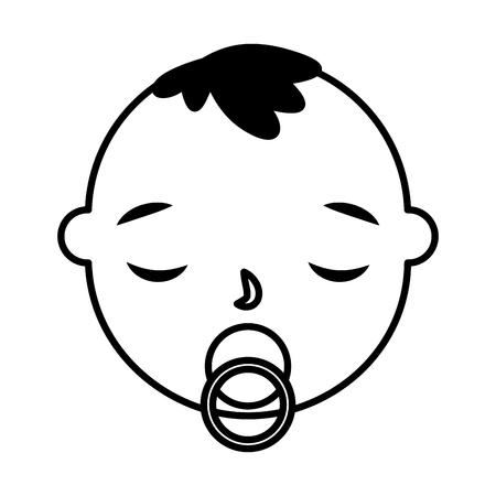 Illustration pour cute baby boy face with pacifier vector illustration monochrome - image libre de droit