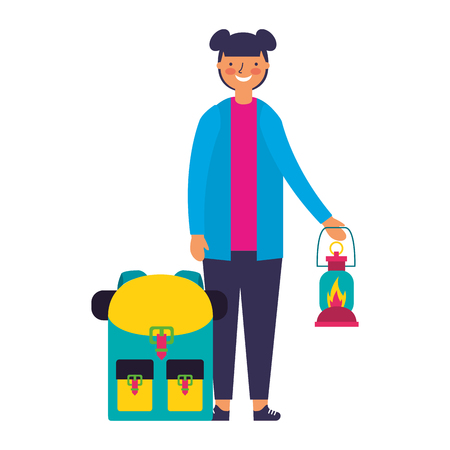 Ilustración de happy girl with lantern and backpack camping vector illustration - Imagen libre de derechos