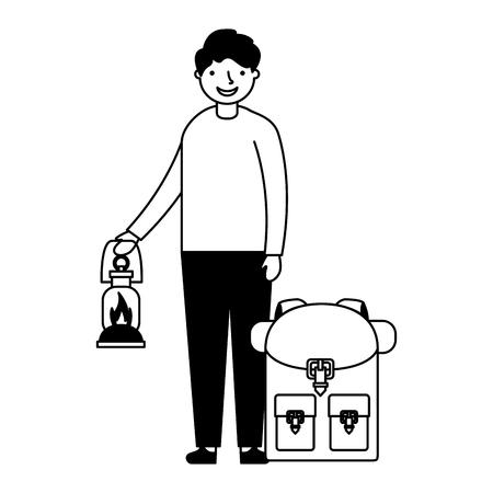 Ilustración de happy boy with lantern and backpack camping vector illustration - Imagen libre de derechos