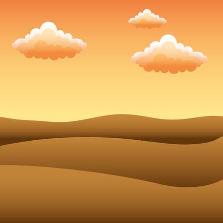 Ilustración de landscape sunset desert dunes sky clouds vector illustration - Imagen libre de derechos