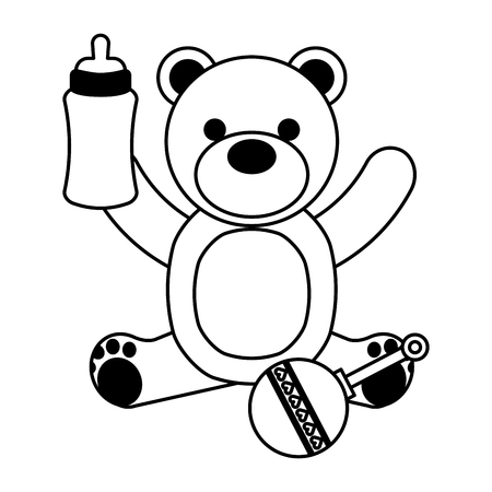 Illustration pour bear milk bottle and rattle vector illustration - image libre de droit