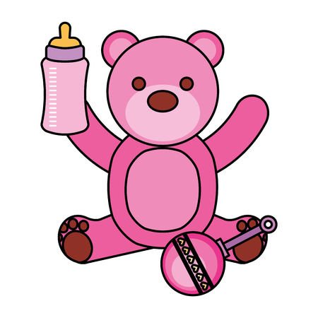Illustration pour pink bear milk bottle and rattle vector illustration - image libre de droit