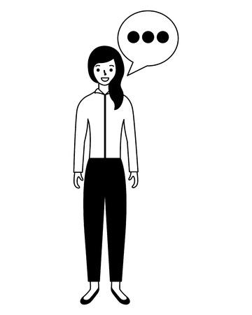 Illustrazione per woman standing with speech bubble  vector illustration - Immagini Royalty Free