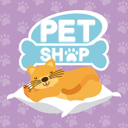 Illustrazione per domestic cat sleeping on the cushion pet shop vector illustration - Immagini Royalty Free