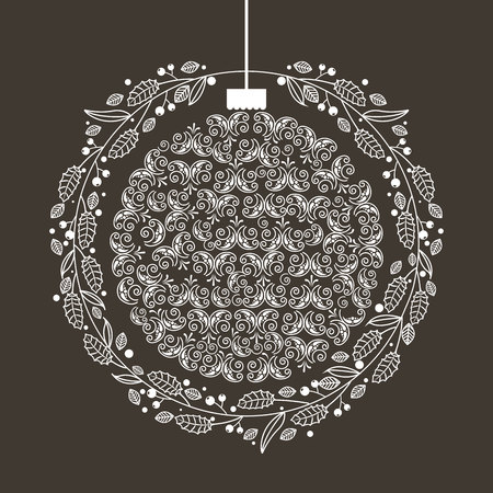 Illustration pour wreath ball merry christmas decoration vector illustration - image libre de droit