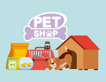 Ilustración de dog hamster and cat on cage food house pet shop vector illustration - Imagen libre de derechos