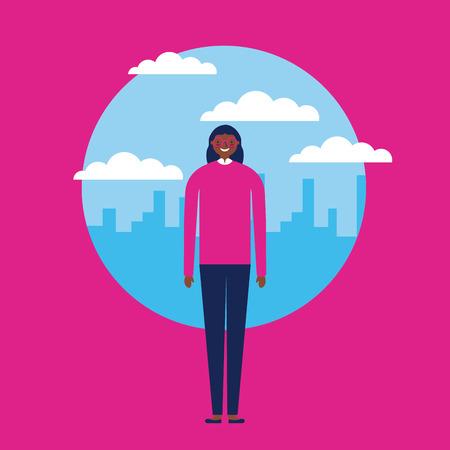 Illustration pour sticker clouds city outdoor afroamerican happy girl vector illustration - image libre de droit