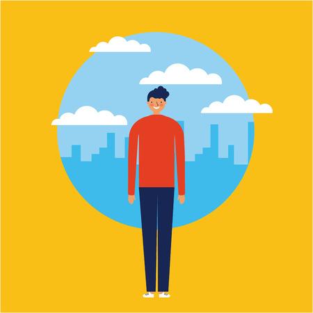 Illustration pour city outdoor sticker boy standing smiling vector illustration - image libre de droit
