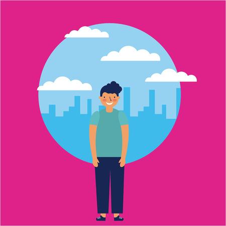 Illustration pour city outdoor small boy smiling vector illustration - image libre de droit