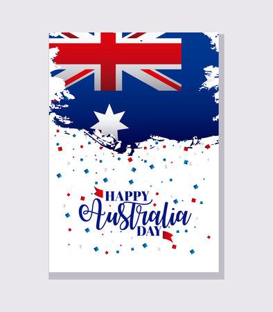 Illustration pour happy australia day card confetti flag celebrate vector illustration - image libre de droit