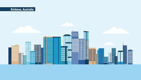 Illustration pour australia place brisbane capital clouds vector illustration - image libre de droit