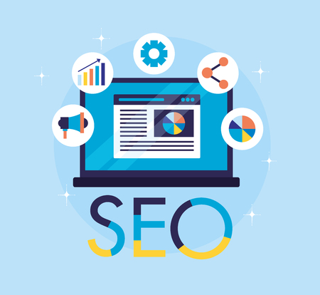 Illustration for mobile marketing share graph search engine optimization vector illustration - Royalty Free Image