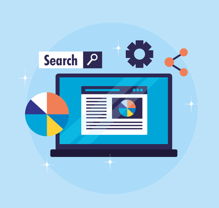 Illustration pour laptop diagram share website search engine optimization vector illustration - image libre de droit
