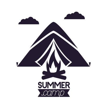 Ilustración de summer camping clouds mountains wood fire vector illustration - Imagen libre de derechos