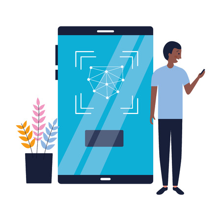 Ilustración de man using mobile biometric face scan vector illustration - Imagen libre de derechos