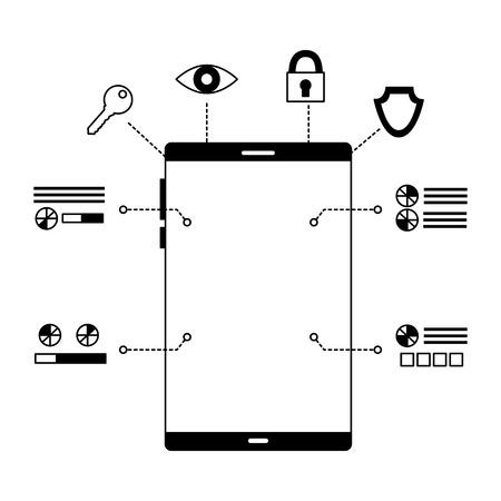 Ilustración de smartphone device security digital scan vector illustration - Imagen libre de derechos