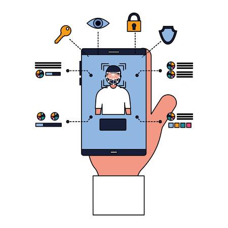 Ilustración de man smartphone face scan access security vector illustration - Imagen libre de derechos