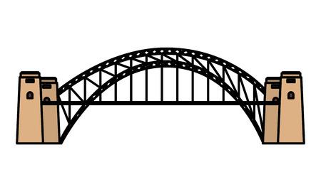 Illustration pour australia landmark architecture harbour bridge vector illustration - image libre de droit