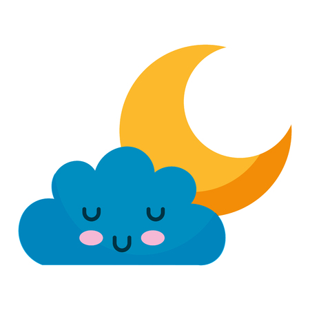 Illustration pour kawaii cloud and moon cartoon vector illustration - image libre de droit